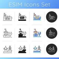 sjöfartsindustrin ikoner set vektor
