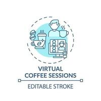 virtuella kaffesessioner konceptikon vektor