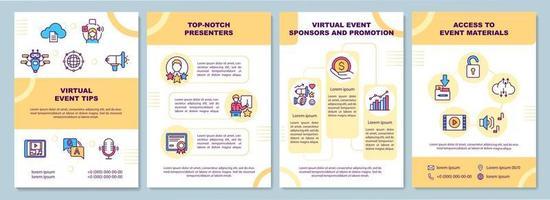 Broschürenvorlage für virtuelle Veranstaltungstipps vektor