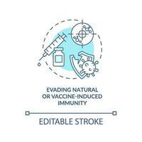 Ausweichen vor natürlichen oder impfstoffinduzierten Immunitätskonzept Symbol vektor