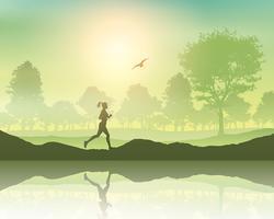 Kvinna joggar på landet