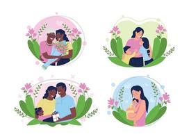 glada kvinnor på mors dag platt koncept vektorillustration