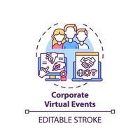 företags virtuella händelser koncept ikon vektor
