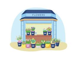 blommor kiosk 2d vektor webb banner, affisch