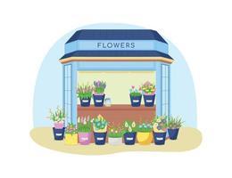 Blumen Kiosk 2d Vektor Web Banner, Poster
