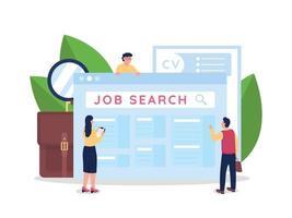 söker efter anställningsmöjligheter platt koncept vektorillustration