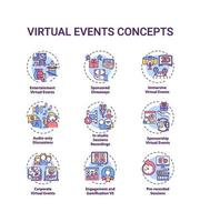 virtuella händelser koncept ikoner set vektor