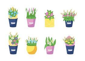 Blumensträuße in Vasen flacher Farbvektorobjektsatz vektor