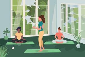 meditation och yogaklass platt färg vektorillustration