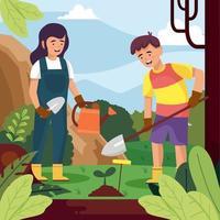 Junge und Mädchen pflanzen Samen, der Tag der Erde feiert vektor