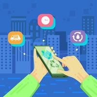 Hand betreibt grüne Öko-Save-Environment-Apps vektor