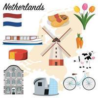 Niederlande Ikonen gesetzt vektor