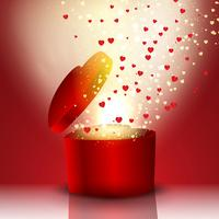Exploderande hjärtformad presentförpackning