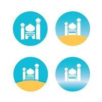 Stellen Sie das Symbol des flachen Designvektorbildes der Moschee ein vektor