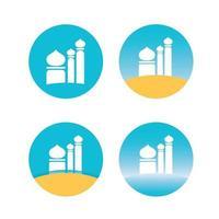 ställa ikonen för moskén platt design vektorbild