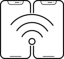 linje-ikon för wifi-anslutning