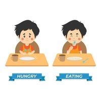 lager vektor barn hungriga och äta