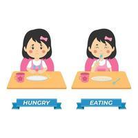 Lager Vektor Kinder hungrig und essen