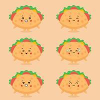 söt taco karaktär med uttryck