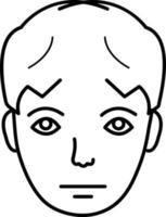 linje ikon för sorgligt ansikte