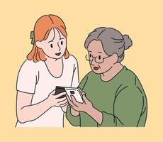 Ein Mädchen bringt ihrer Großmutter den Umgang mit ihrem Handy bei. Hand gezeichnete Art Vektor-Design-Illustrationen. vektor