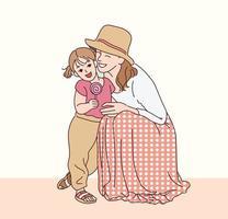 Mutter und Tochter freuen sich liebevoll aufeinander. Hand gezeichnete Art Vektor-Design-Illustrationen. vektor