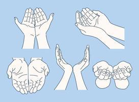 Sammlung verschiedener Handgesten. Hand gezeichnete Art Vektor-Design-Illustrationen. vektor