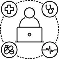 linje ikon för medicinsk hjälp online
