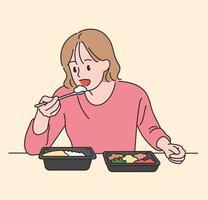 en flicka äter en lunchlåda. handritade stilvektordesignillustrationer.
