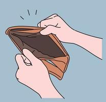 en hand som visar en tom plånbok. handritade stilvektordesignillustrationer.