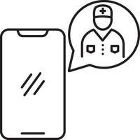 Zeilensymbol für einen Arzt fragen vektor