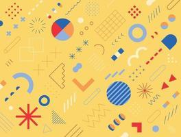 retrostil design bestående av olika former och mönster. gul bakgrund. enkel mönster formgivningsmall. vektor