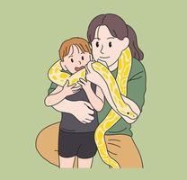 mamma och barn upplever pytoner runt halsen. handritade stilvektordesignillustrationer.