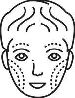 linje ikon för plastikkirurgi i ansiktet
