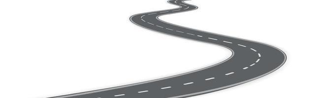 realistische kurvenreiche Autostraße, die sich in den Horizont erstreckt - Vektor