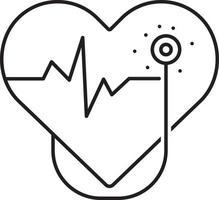 linje ikon för kardiologi