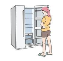 baksidan av en kvinna som öppnar ett tomt kylskåp. handritade stilvektordesignillustrationer.