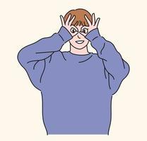 en man bär glasögon med tummen och pekfingret och ser rakt framåt. handritade stilvektordesignillustrationer.