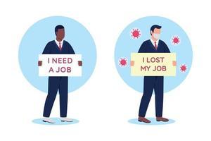 arbetslösa människor med kartong undertecknar platt koncept vektorillustration uppsättning