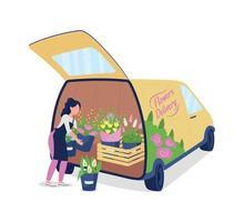 weiblicher Florist, der Auto mit dem flachen Farbvektor gesichtslosen Charakter der Blumen entlädt vektor