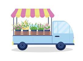 Blumensträuße auf flachem Farbvektorobjekt des Lieferwagens vektor