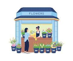 blomsterhandlare som säljer blommor till kundens platta färgvektordetaljerade karaktär