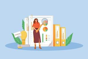 flache Konzeptvektorillustration der Finanzprüfung. professioneller Finanzier, Business Analyst 2d Zeichentrickfigur für Webdesign. Wirtschaftsanalyse, Budgetbewertung, Buchhaltung kreative Idee vektor