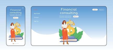 finansiell rådgivning adaptiv målsida platt färg vektor mall. skattebetalningsassistans mobil och pc-hemsidlayout. expert service en sida webbplats ui. webbsida cross platform design