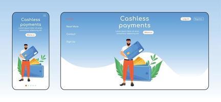kontantlösa betalningar adaptiv målsida platt färg vektor mall. banktjänstens mobil- och pc-hemsidlayout. fintech en sida webbplats ui. kreditkortstransaktioner webbsida plattformsdesign