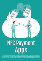 mobile Datenübertragungsplakat flache Silhouette Vektorschablone. NFC-Anwendung. Broschüre, Broschüre einseitiges Konzeptdesign mit Comicfiguren. Flyer für kontaktlose Verbindung, Broschüre mit Textbereich vektor