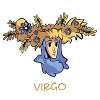 jungfrun stjärntecken platt tecknad vektorillustration. kvinna i blommig krans karaktär. astrologiska horoskop symbolegenskaper, jordbruk mytologisk gudinna. isolerad handritad artikel vektor
