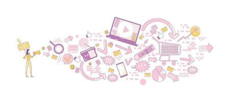 Werbegeschäft dünne Linie Konzept Vektor-Illustration. Promotor mit Megaphon 2d Zeichentrickfigur für Webdesign. digitales Marketing, öffentliche Bekanntmachung, kreative Idee für Werbebotschaften vektor
