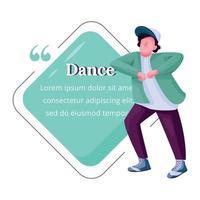 flacher Farbvektorcharakterzitat des jungen männlichen Tänzers. Kerl frei tanzen, Breakdance Teenager männlicher Darsteller. Zitat leere Rahmenvorlage. Sprechblase. Zitat leeres Textfeld Design vektor