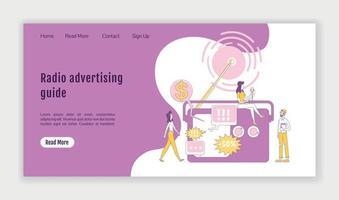 Radio Werbung Leitfaden Landingpage flache Silhouette Vektor Vorlage. Homepage-Layout für Marketingtechnologie. Ausstrahlung einer einseitigen Website-Oberfläche mit Zeichentrickfigur. Web-Banner, Webseite